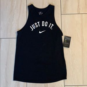 Nike dri fit black just do it tank top size small